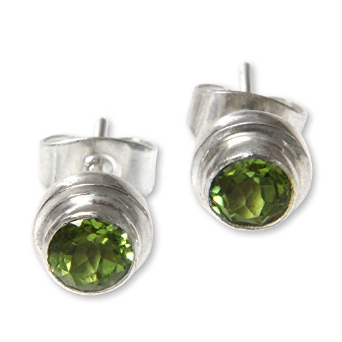 NOVICA Round Peridot and .925 Sterling Silver Stud Earrings, Green Simplicity' (.6 cttw)