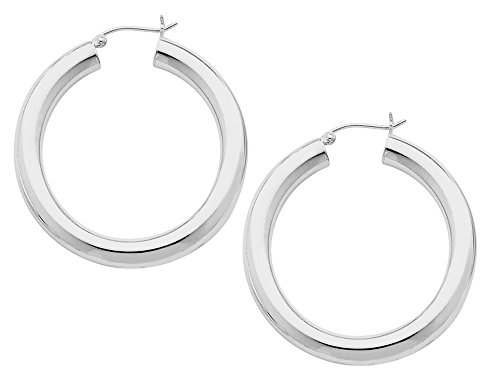 Earrings Medium 5mm Hoop (Medium Hoop Earrings in Sterling Silver 1 1/2 Inch (5.0mm))