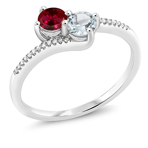Diamond & Ruby Anniversary Ring - 10K White Gold Forever United Two-stone Diamond Right-hand Engagement Birthstone Ring Round Red Created Ruby Sky Blue Aquamarine (0.64 cttw, Engagement Birthstone Ring Size 7)