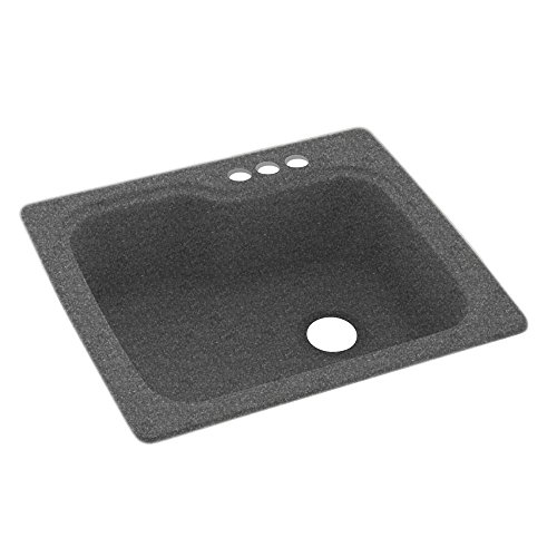 (Swanstone KS02522SB.012 Solid Surface 1-Hole Dual Mount Single-Bowl Kitchen Sink, 25-in L X 22-in H X 9-in H, Night Sky)