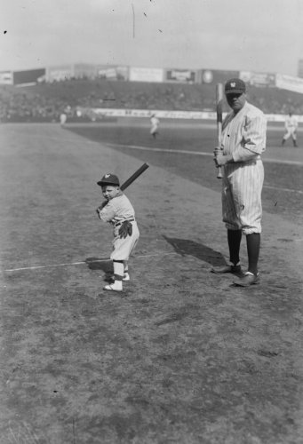 TITLE: Babe Ruth and mascot 8x10 Photograph - Ready to Frame - Mascot Hire