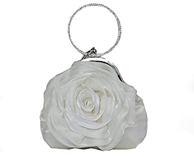 ILISHOP Women's Satin Rosette Bridal Bridesmaid Clutch Flower Wristlet Wedding Handbag Rhinestone Ring Handle Evening Bag