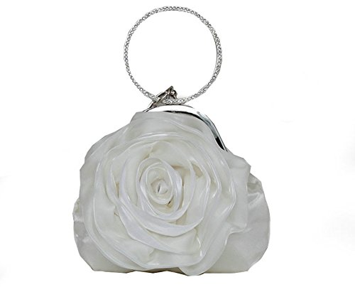 ILISHOP Women's Satin Rosette Bridal Bridesmaid Clutch Flower Wristlet Wedding Handbag Rhinestone Ring Handle Evening Bag (White)