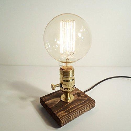 Amazon Com Brass Unique Table Desk Lamp Globe Edison Bulb With Oak