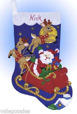 Stocking Embroidery Design (Design Works Felt Embroidery Applique kit Stocking - Moonlit Ride)
