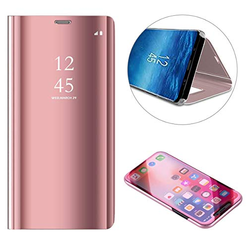 (Shinyzone Mirror Case for Samsung Galaxy S10 Plus,Slim Fit Book Folio Flip Hardcover with Plating Smart View Translucent Wallet Cover for Samsung Galaxy S10 Plus-Rose Gold )