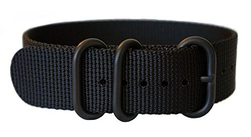 Zulu G10 Nato Military Watch Strap 3 Ring PVD Watch Band - Black 22mm Watch Band