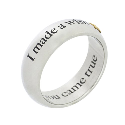 Stainless Steel I Made A Wish and You Came True with Gold Star Poesy Ring, size 8 ()
