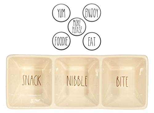 Rae Dunn SNACK NIBBLE BITE Ceramic Three Section Candy Dish Tray - Appetizer Candy Relish Dessert Nut Sauce and Coordinating Farmhouse Style Magnet Set