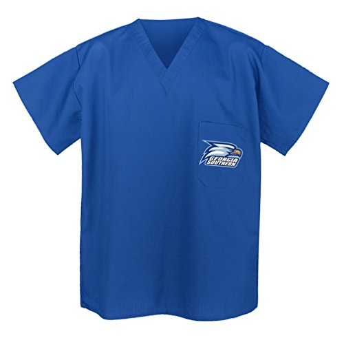 (Georgia Southern Shirts - NCAA Scrubs - Tops for Men or Women XS Blue)