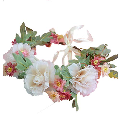 Vivivalue Boho Flower Crown Flower Garland Headband Hair Wreath Floral Headpiece Halo with Ribbon Wedding Party Festival Photos -