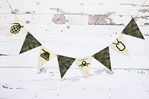 Cardstock Military Camo Images Banner | Army Men Birthday Party Decorations