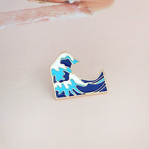 (patcharin shop 1 Piece Lovely Alloy Waves Enamel Brooch Pin Badge Fashion Jewelry Kids Gift)