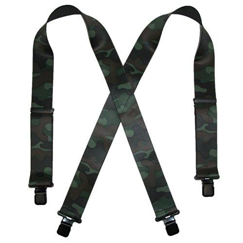 CTM® Mens Elastic Clip-End 2 Inch Camo Pattern Suspenders, Green