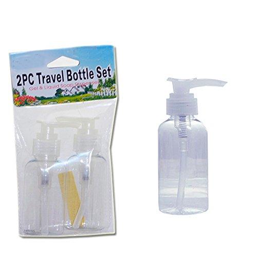 2pc Travel Pump Soap Dispenser Lotion Refillable Clear Bottle Plastic Jar 4oz !