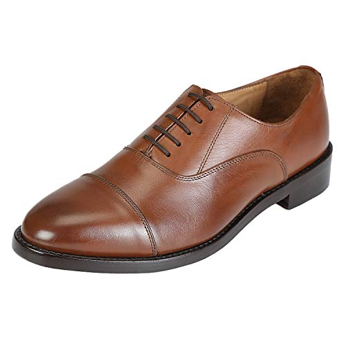 Brown Imported - DLT Men's Genuine Imported Leather with Leather Sole Goodyear Welted Oxford Dress Shoes 10 Brown