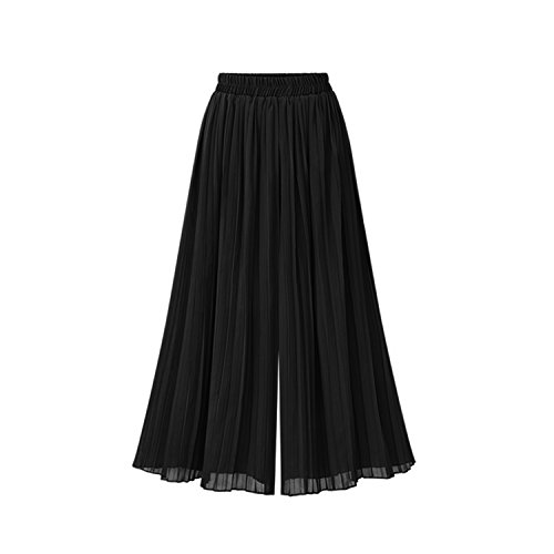 better-caress Pleated Chiffon High Waist Pants Casual Long Bloomers Trousers Pantalones H9,Black,4XL - Flannel Bloomers