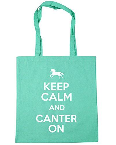 HippoWarehouse Keep Calm and Canter On Horse Riding Tote Shopping Gym Beach Bag 42cm x38cm, 10 litres Mint