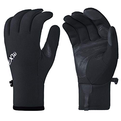 - EXski Mens Hiking Gloves Sensitive Touchscreen Genuine Leather Palm Thin Fleece Lined Gloves for Running Driving Riding Outdoor Sports