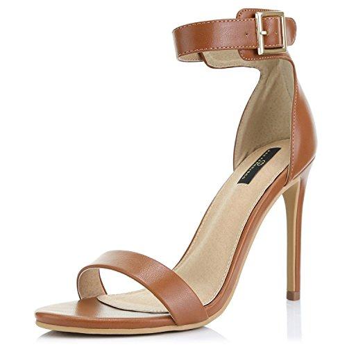 DailyShoes Women's Fashion Open Toe Ankle Buckle Strap Platform High Heel Casual Sandal Shoes, Tan PU, 10 B(M) US -