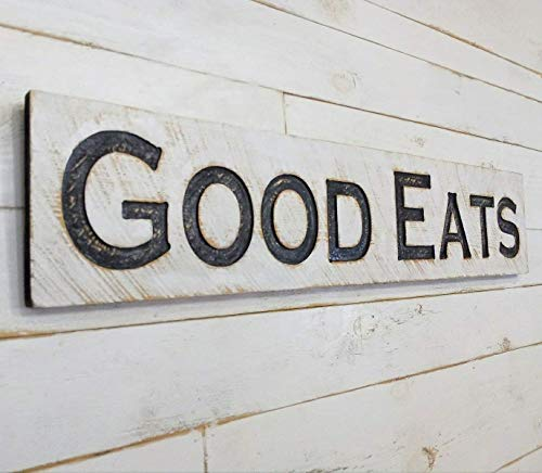"""Large GOOD EATS Sign 48""""x10"""" Carved Horizontal-Wooden Lumber Rustic Wood Distressed Shabby Style Decor"""