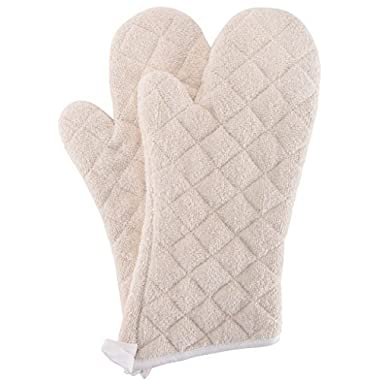 Bestjoy Terry Cloth Oven Mitts Heat Resistant to 482° F 13 Inch 100% Cotton Set of 2
