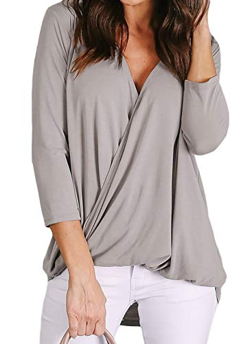 Lovezesent Womens 3/4 Sleeve V Neck Wrap Twist Casual Loose Shirt Tops Elegant Drape Office Blouses for Work Pink Small ()
