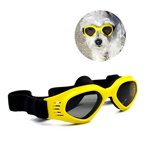 Enjoying Pet/Dog Puppy UV Goggles Sunglasses Waterproof Protection Sun Glasses for Dog - Yellow ()