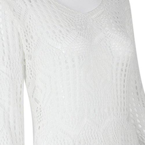Robe Femme, Koly Robes Femmes Sexy éVider White Lace Dress Beach Party Avec Ceinture