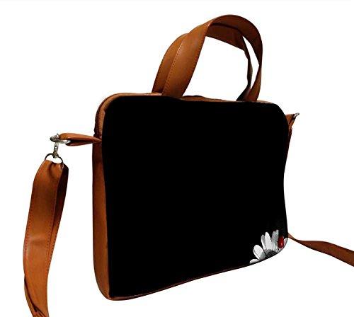 Snoogg weiß Sonnenblume Blütenblatt Design 38,1cm Zoll auf 39,4cm Zoll auf 39,6cm Zoll Kunstleder Laptop Notebook Schuber Sleeve, der Fall mit und Schultergurt für MacBook Pro Acer Asus Dell HP Son