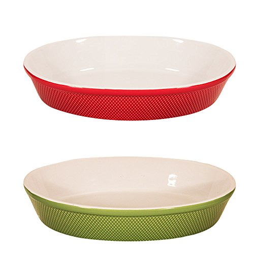 BIA Cordon Bleu Porcelain Oval Baking Dish, 15-Inch (Holiday Value Pack (Red and Green))