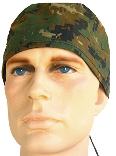 USA Made Marpat Green Digital Camo Camoflauge Medical Scrub Cap Sweatband Adjustable Ties Doctor Nurse (Cap Camoflauge Adjustable)