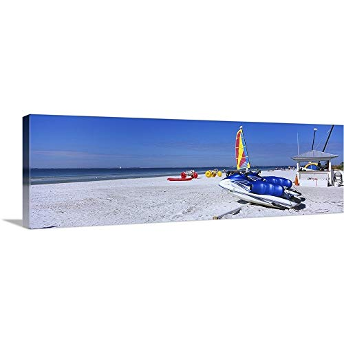 GREATBIGCANVAS Gallery-Wrapped Canvas Entitled Two Jet Boats and a Windsurfing Board on The Beach, Fort Myers Beach, Bowditch Point Regional Park, Gulf of Mexico, Florida by ()