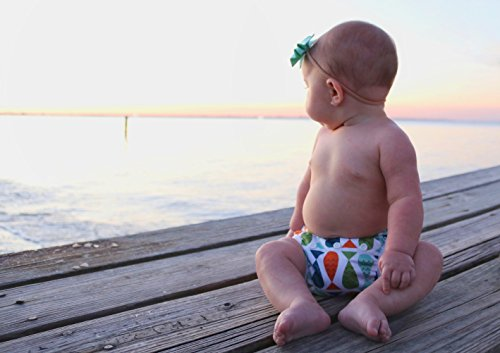 Large Product Image of Nageuret Reusable Swim Diaper, Adjustable & Stylish Fits Diaper Sizes N-5 (8-36lbs) Ultra Premium Quality For Eco-Friendly Baby Shower Gifts & Swimming Lessons (Fish- Red, Green, Blue)