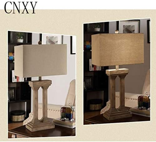 Table Lamp,Personalized Hotel Lamp Square American Retro Resin Lamp Bedside Lamp Office Living Room Study Restaurant Bedroom Bedside Light Fixture 1228