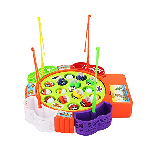 (2019 Fashion!!! Cathy Clara 1 Set Child Baby Cute Magnetic Toy Intelligence Fishing Tool Automatic Music Fish Toy )