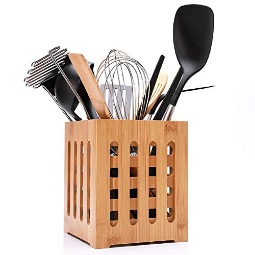 (Extra Larger Utensil Holder Crock with Drying Holes-Kitchen Tool Caddy-Bamboo Flatware)
