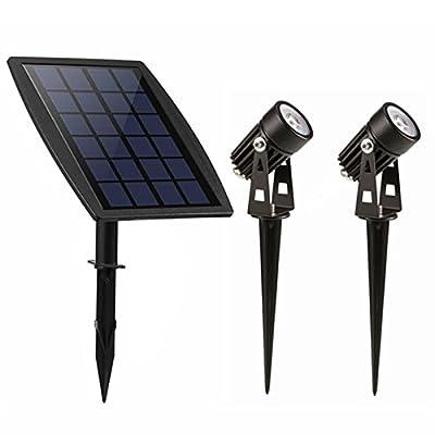 Keynice Waterproof IP65 Solar Powered Spotlight with 2 Warm White Lights for Outdoor/Garden/Courtyard/Lawn-Black