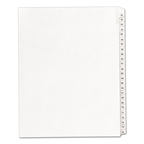 - Avery 01703 Collated Dividers, 51-75, Side Tab, 11