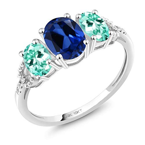 - Gem Stone King 2.07 Ct Oval Blue Simulated Sapphire Blue Apatite 10K White Gold Ring (Size 5)