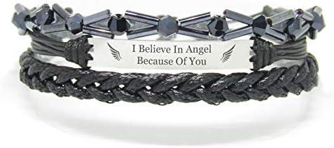 Miiras Erinnerungsarmband, Gedenkschmuck - I Believe In Angel Because of You - Schwarz - EIN süßes Gedenkgeschenk für Frauen
