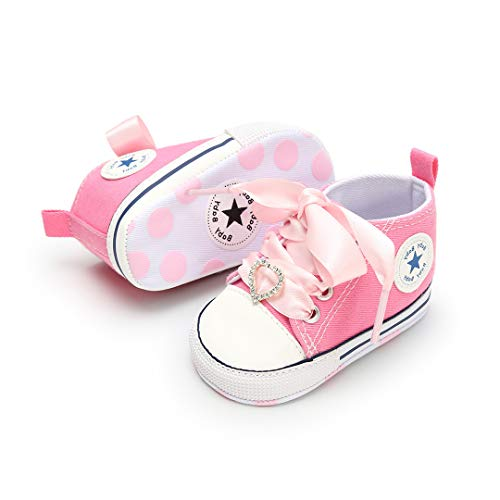 Baby Boy Shoes Canvas Soft Sole Newborn High Top Toddler Sneakers Infant Shoes for Baby Girls(13cm,12-18Months M US Toddler,C-Pink Heart Shoelace