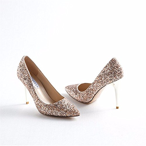 Shoes Sequined Ladies' Heels Prom Fashion Fine HXVU56546 champagne High Pointy Shoes Gradient Shoes a6wx8zq8