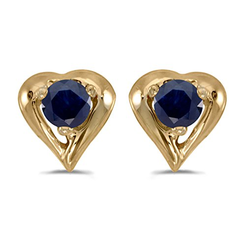 0.18 Carat (ctw) 14k Yellow Gold Round Blue Sapphire Heart Shape Stud Earrings with Post with Friction Back (3 MM)