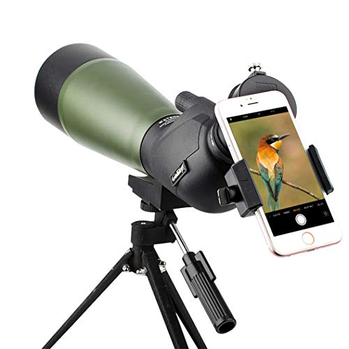 Gosky 20-60x80 Spotting Scope with Updated Scope Phone Adapter and Tripod, Carrying Bag - BAK4 Angled Scope for Target Shooting Hunting Bird Watching Wildlife Scenery