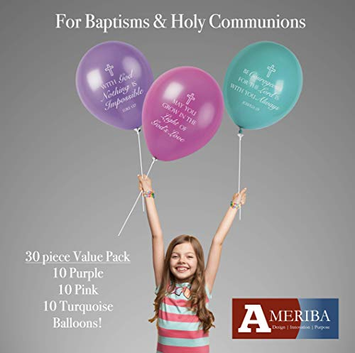 Christian Celebration with Baptism Balloons, Holy Communion Balloons for Bible School, Church Events, Easter (Wildflowers Collection) ()