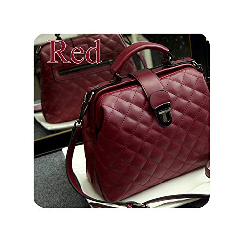 Women Bags Solid Crossbody Bag For Women Leather Handbags Fashion Hasp Quilted Bucket Bags Shoulder,Red