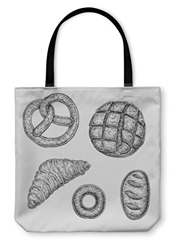 Gear New Shoulder Tote Hand Bag, Collection Of Hand Drawn Ink Bakery Sketches, 18x18, 4689311GN