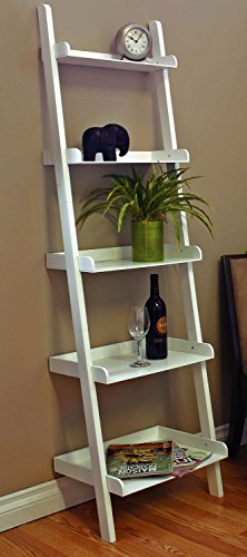 SQUARE FURNITURE 72 Inch Ladder Style Shelf, White