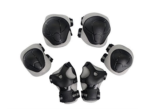 Skating 6 Pcs/Set Kid's Protective Gear Set with Elbow Knee Wrist Pad for Roller Skating Skateboard BMX Scooter Cycling (Grey S) for Protection by Wetietir